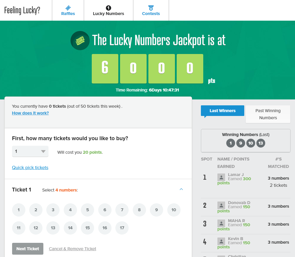 PrizeRebel Lucky Numbers Page